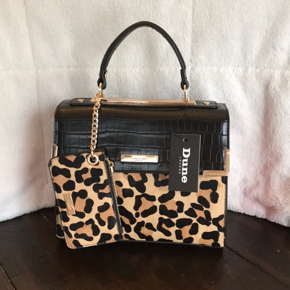 2802bf09c0 Dune London faux leopard fur bag with red detail